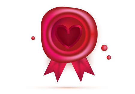 Wax Seal with Red Heart and Ribbons Isolated on White. Valentines Day Design Element. Vector Illustration.