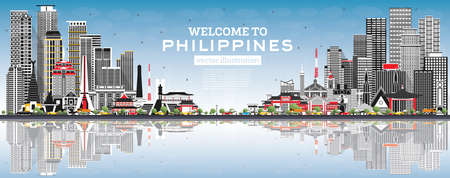 Welcome to Philippines City Skyline with Gray Buildings, Blue Sky and Reflections. Vector Illustration. Historic Architecture. Philippines Cityscape with Landmarks. Manila, Quezon, Davao, Cebu. 版權商用圖片 - 161768307
