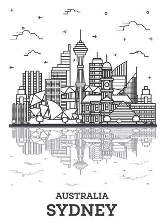 Outline Sydney Australia City Skyline with Modern Buildings and Reflections Isolated on White. Vector Illustration. Sydney Cityscape with Landmarks. 版權商用圖片 - 161768313