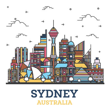Outline Sydney Australia City Skyline with Modern Colored Buildings Isolated on White. Vector Illustration. Sydney Cityscape with Landmarks.