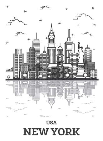 Outline New York USA City Skyline with Modern Buildings and Reflections Isolated on White. Vector Illustration. New York Cityscape with Landmarks.