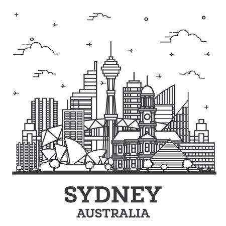 Outline Sydney Australia City Skyline with Modern Buildings Isolated on White. Vector Illustration. Sydney Cityscape with Landmarks.