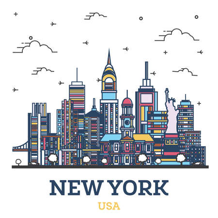 Outline New York USA City Skyline with Modern Colored Buildings Isolated on White. Vector Illustration. New York Cityscape with Landmarks. 向量圖像