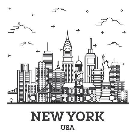 Outline New York USA City Skyline with Modern Buildings Isolated on White. Vector Illustration. New York Cityscape with Landmarks. 版權商用圖片 - 161768322