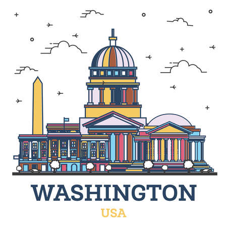 Outline Washington DC USA City Skyline with Color Buildings Isolated on White. Vector Illustration. Washington DC Cityscape with Landmarks. 版權商用圖片 - 161768325