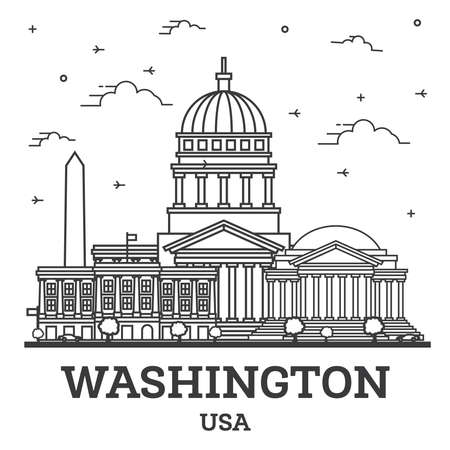 Outline Washington DC USA City Skyline with Modern Buildings Isolated on White. Vector Illustration. Washington DC Cityscape with Landmarks.