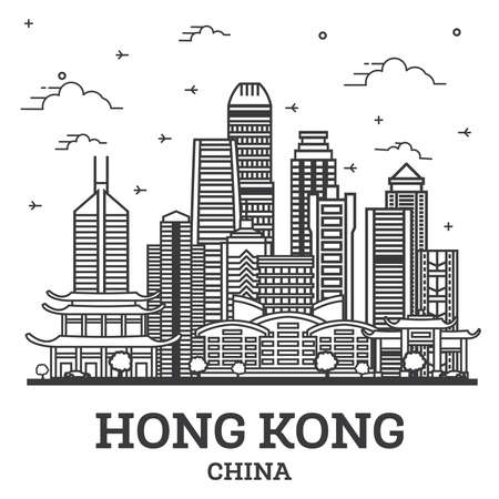 Outline Hong Kong China City Skyline with Modern Buildings Isolated on White. Vector Illustration. Hong Kong Cityscape with Landmarks. 向量圖像