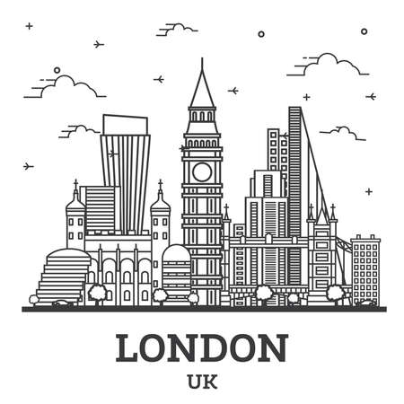 Outline London England UK City Skyline with Modern Buildings Isolated on White. Vector Illustration. London Cityscape with Landmarks.