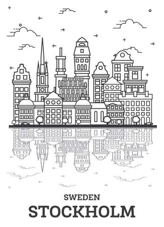 Outline Stockholm Sweden City Skyline with Historic Buildings and Reflections Isolated on White. Vector Illustration. Stockholm Cityscape with Landmarks. 向量圖像