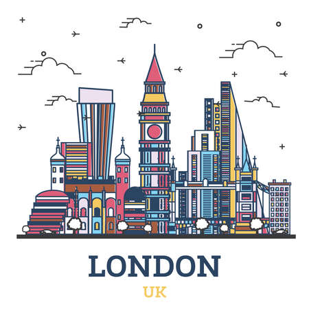 Outline London England UK City Skyline with Color Buildings Isolated on White. Vector Illustration. London Cityscape with Landmarks. 向量圖像