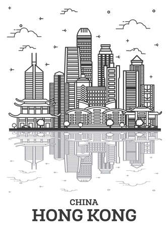 Outline Hong Kong China City Skyline with Modern Buildings and Reflections Isolated on White. Vector Illustration. Hong Kong Cityscape with Landmarks. 版權商用圖片 - 161769206