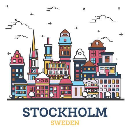 Outline Stockholm Sweden City Skyline with Modern Colored Buildings Isolated on White. Vector Illustration. Stockholm Cityscape with Landmarks. 向量圖像