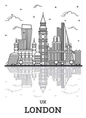 Outline London England UK City Skyline with Modern Buildings and Reflections Isolated on White. Vector Illustration. London Cityscape with Landmarks. 向量圖像