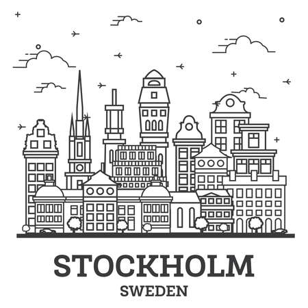 Outline Stockholm Sweden City Skyline with Historic Buildings Isolated on White. Vector Illustration. Stockholm Cityscape with Landmarks. 版權商用圖片 - 161769215