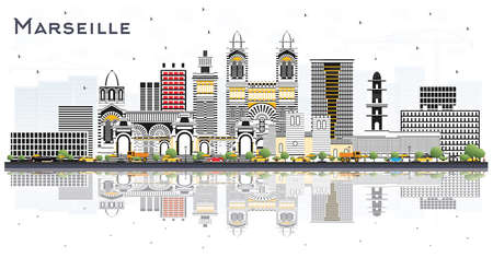 Marseille France City Skyline with Gray Buildings and Reflections Isolated on White. Vector Illustration. Travel and Tourism Concept with Historic Architecture. Marseille Cityscape with Landmarks.
