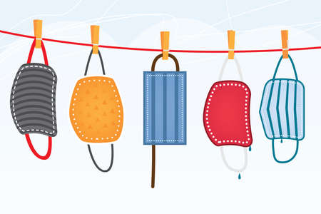 Washed Protective Face Masks Hanging on a Line. Vector Illustration. Drying Laundered Reusable Masks.