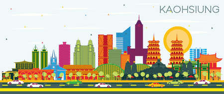 Kaohsiung Taiwan City Skyline with Color Buildings and Blue Sky. Vector Illustration. Business Travel and Tourism Concept with Historic Architecture. Kaohsiung China Cityscape with Landmarks.