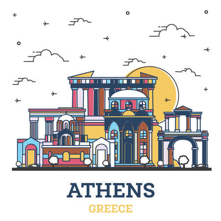 Outline Athens Greece City Skyline with Colored Historic Buildings Isolated on White. Vector Illustration. Athens Cityscape with Landmarks.