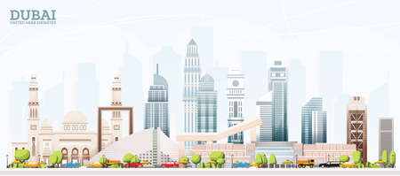 Dubai United Arab Emirates (UAE) City Skyline with Colored Buildings and Blue Sky. Vector Illustration. Business Travel and Tourism Concept with Modern Architecture. Dubai Cityscape with Landmarks.