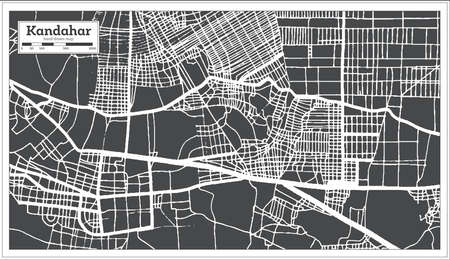 Kandahar Afghanistan City Map in Black and White Color in Retro Style. Outline Map. Vector Illustration. 向量圖像