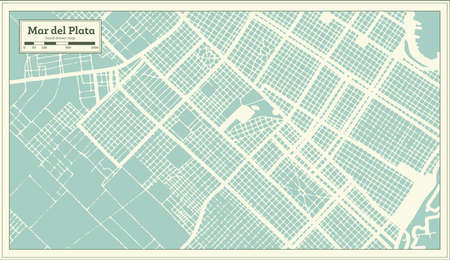 Mar del Plata Argentina City Map in Retro Style. Outline Map. Vector Illustration.
