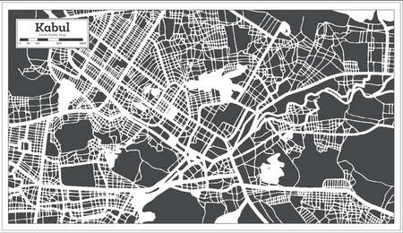Kabul Afghanistan City Map in Black and White Color in Retro Style. Outline Map. Vector Illustration. 向量圖像