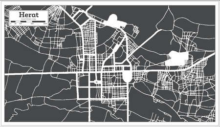 Herat Afghanistan City Map in Black and White Color in Retro Style. Outline Map. Vector Illustration. 向量圖像