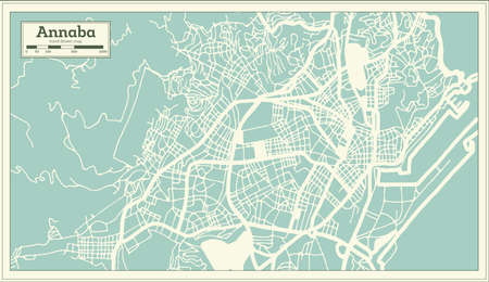 Annaba Algeria City Map in Retro Style. Outline Map. Vector Illustration.