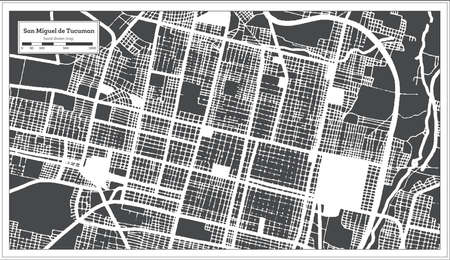 San Miguel de Tucuman Argentina City Map in Black and White Color in Retro Style. Outline Map. Vector Illustration.