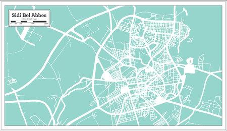 Sidi Bel Abbes Algeria City Map in Retro Style. Outline Map. Vector Illustration.