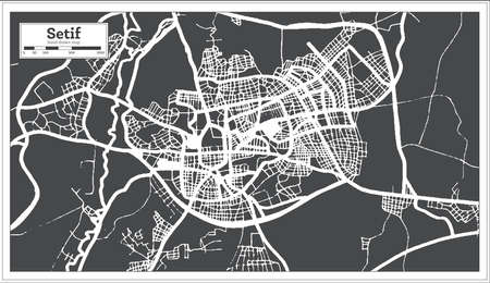 Setif Algeria City Map in Black and White Color in Retro Style. Outline Map. Vector Illustration.