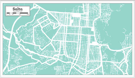 Salta Argentina City Map in Retro Style. Outline Map. Vector Illustration. 向量圖像