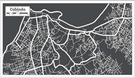 Cabinda Angola City Map in Black and White Color in Retro Style. Outline Map. Vector Illustration. 向量圖像