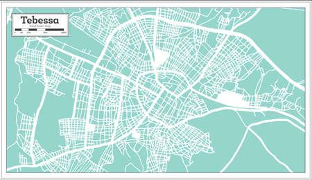 Tebessa Algeria City Map in Retro Style. Outline Map. Vector Illustration. 向量圖像