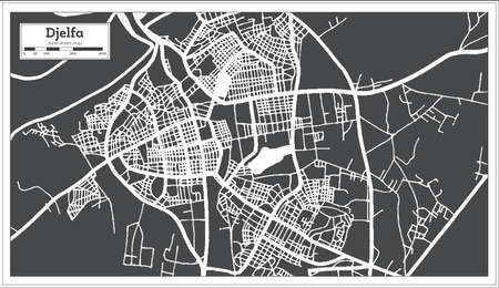Djelfa Algeria City Map in Black and White Color in Retro Style. Outline Map. Vector Illustration. 向量圖像