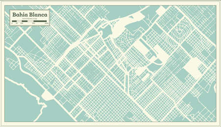 Bahia Blanca Argentina City Map in Retro Style. Outline Map. Vector Illustration.