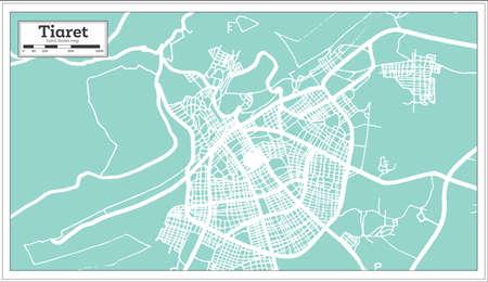 Tiaret Algeria City Map in Retro Style. Outline Map. Vector Illustration.