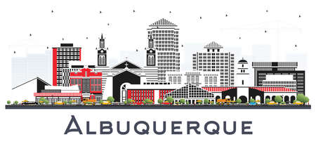 Albuquerque New Mexico City Skyline with Color Buildings Isolated on White. Vector Illustration. Albuquerque USA Cityscape with Landmarks. Business Travel and Tourism Concept with Modern Architecture. 向量圖像