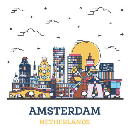 Outline Amsterdam Netherlands City Skyline with Colored Historic Buildings Isolated on White. Vector Illustration. Amsterdam Cityscape with Landmarks.