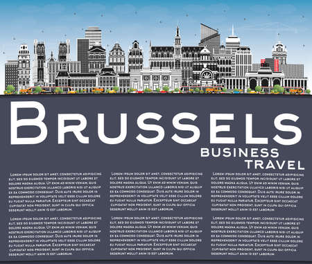 Brussels Belgium City Skyline with Color Buildings, Blue Sky and Copy Space. Vector Illustration. Brussels Cityscape with Landmarks. Business Travel and Tourism Concept with Historic Architecture. 向量圖像