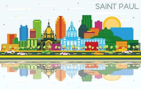Saint Paul Minnesota City Skyline with Color Buildings, Blue Sky and Reflections. Vector Illustration. Business Travel and Tourism Concept with Historic Architecture. Saint Paul USA Cityscape. 向量圖像