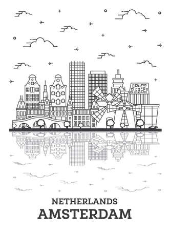 Outline Amsterdam Netherlands City Skyline with Historic Buildings and Reflections Isolated on White. Vector Illustration. Amsterdam Cityscape with Landmarks. 向量圖像
