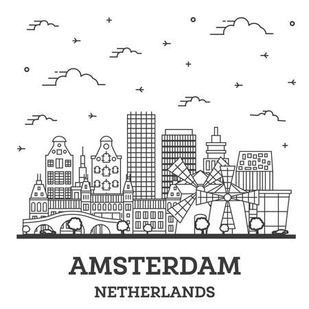 Outline Amsterdam Netherlands City Skyline with Historic Buildings Isolated on White. Vector Illustration. Amsterdam Cityscape with Landmarks.