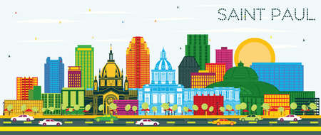 Saint Paul Minnesota City Skyline with Color Buildings and Blue Sky. Vector Illustration. Business Travel and Tourism Concept with Historic Architecture. Saint Paul USA Cityscape with Landmarks. 向量圖像