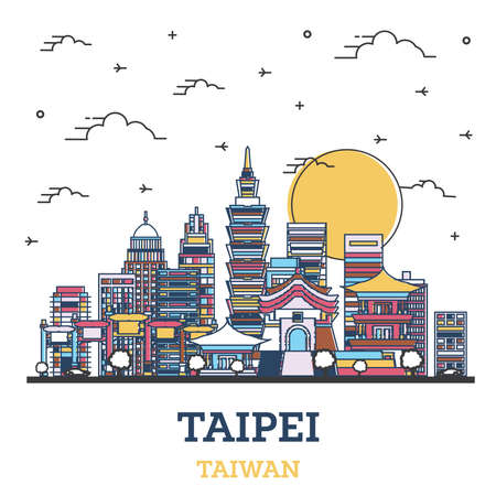 Outline Taipei Taiwan City Skyline with Colored Modern Buildings Isolated on White. Vector Illustration. Taipei Cityscape with Landmarks.