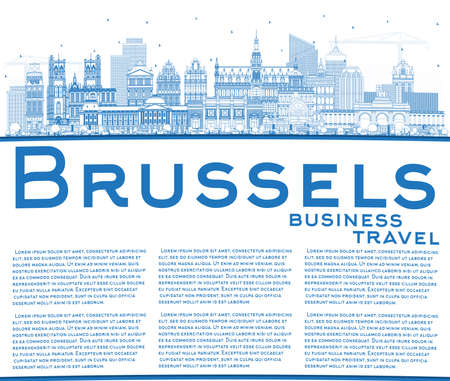 Outline Brussels Belgium City Skyline with Blue Buildings and Copy Space. Vector Illustration. Brussels Cityscape with Landmarks. Business Travel and Tourism Concept with Historic Architecture. 向量圖像