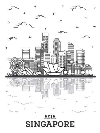 Outline Singapore City Skyline with Modern Buildings and Reflections Isolated on White. Vector Illustration. Singapore Cityscape with Landmarks. 向量圖像