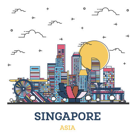 Outline Singapore City Skyline with Colored Modern Buildings Isolated on White. Vector Illustration. Singapore Cityscape with Landmarks. 向量圖像