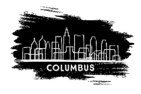 Columbus Ohio USA City Skyline Silhouette. Hand Drawn Sketch. Business Travel and Tourism Concept with Historic Architecture. Vector Illustration. Columbus Cityscape with Landmarks.