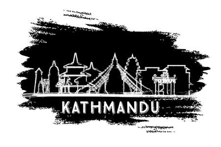 Kathmandu Nepal City Skyline Silhouette. Hand Drawn Sketch. Business Travel and Tourism Concept with Historic Architecture. Vector Illustration. Kathmandu Cityscape with Landmarks.